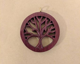 Scrollsaw hand carved tree pendant