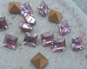 Vintage Swarovski  4mm Square Stones in Light Amethyst.  18pcs.