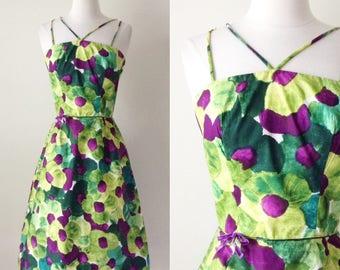 Vintage 1950s Sundress - 50s Floral Cotton Sundress