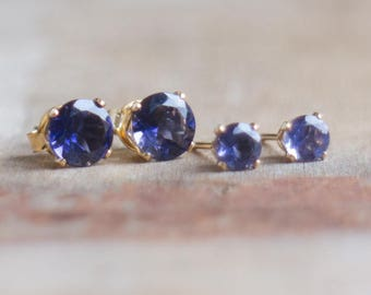 Gemstone Stud Earrings, Iolite Earrings Studs, Mom Gift for Her, Water Sapphire Ear Studs, Gold, Silver Stud Earrings, Post Earrings, Dainty