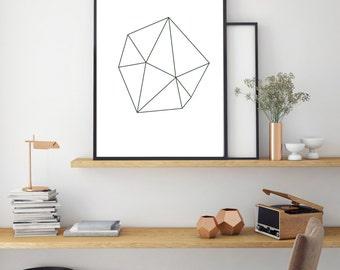 Geometric Print, Minimal Wall Art, Modern Home Decor, Digital Print, Black And White Print, Geo Shapes One