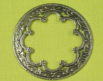 6 Antique Silver Brass Round Renaissance Filigree Jewelry Findings 321