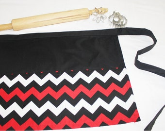 Red and Black Chevron Adult Apron