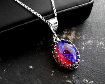 Fire opal jewelry etsy sterling silver dragons breath fire opal necklace wiccan jewelry gothic jewelry fantasy jewelry vintage necklace aloadofball Choice Image