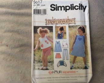 Simplicity pattern #5617 child's separates size 5,6,6X