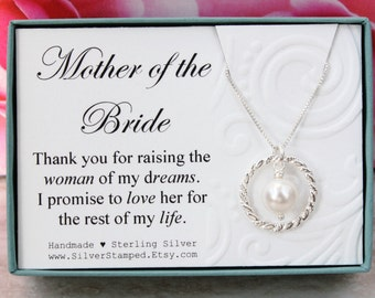 Gift for Mother of the Bride gift from groom Sterling silver pearl necklace Thank you for raising the woman of my dreams, bridesmaids gifts