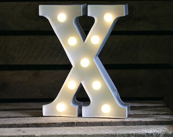 Vintage Carnival Style Marquee Light, Light up Letter X - Battery Operated
