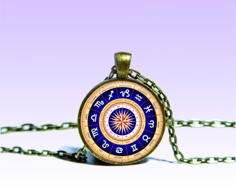 Charm Zodiac circle Pendant Astrology NECKLACE Zodiac Jewelery Charm Pendant for Him or Her