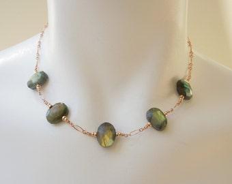 Gemstone Necklace: Faceted Labradorite, 14K Rose Gold Filled Chain, Adjustable Length