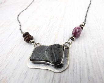 Fossil Trilobite Necklace, Sterling Silver Necklace, Trilobite Ruby Dinosaur Bone Necklace, Bar Necklace