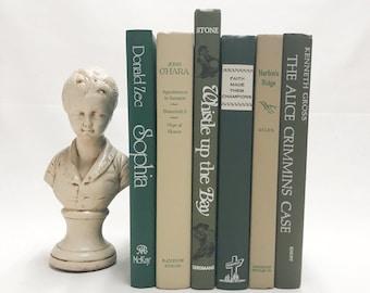 Forest Green Decorative Books, Shelf Decor, Modern Decor