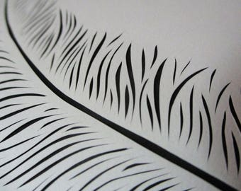 Writing Quill Original Paper Cutting Wall Art