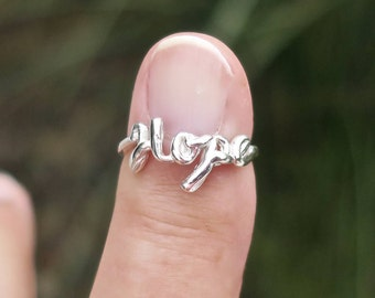 Vintage 925 Sterling Silver Script Hope Ring