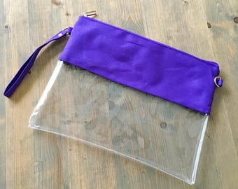 Clear Stadium Bag with PURPLE Trim and Monogram