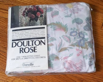"Vintage floral sheet, twin fitted new in package, ""Doulton Rose"" no iron muslin sheet"