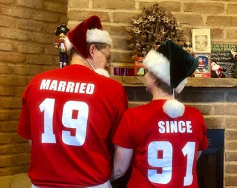 MARRIED SINCE Custom Couples T-Shirts, Anniversary & Wedding Gift, Newylweds Set of 2 Matching Tees Lovebirds Couples Shirts