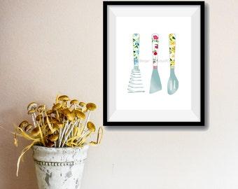 kitchen Utensils art Print ,kitchen utensils print, floral  print, house warming gift, Retro  kitchen art, mothers day, hostess gift