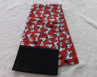 pillowcase made from Peanuts snoopy with mustache red, white, and black cotton fabric