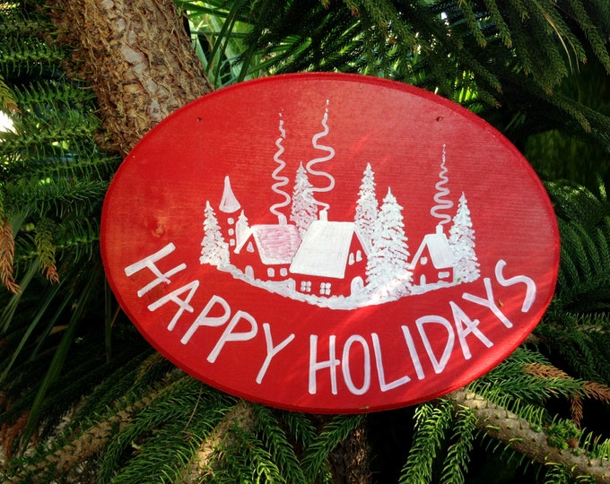 Christmas Decor sign, Happy Holidays gift, Christmas wall decor, Christmas Holidays wood sign.