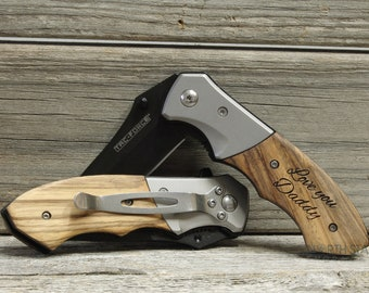 Father Daughter gift, Pocket Knife, Engraved Knife, Hunting Knife, Personalized Knife, Gift for Husband, Fathers day gift, Custom Knife