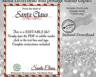 Santa letterhead etsy christmas santa letterhead and canceled north pole postage mark png clipart diy editable letter from santa spiritdancerdesigns Image collections