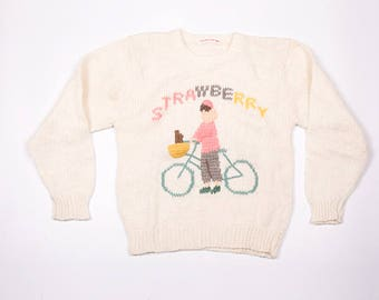 Vintage Strawberry Bicycle 90s Knit Jumper Sweater