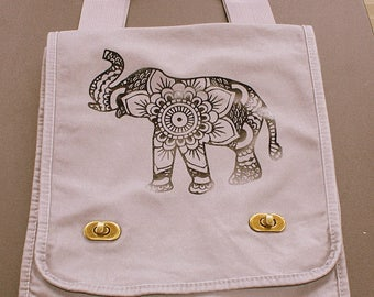 Doodle Elephant Messenger Field Bag - Black Vinyl Letters - Smoke Gray - Inside Zipper Pocket