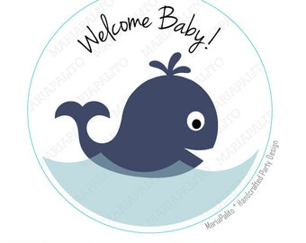 Baby shower Stickers, whale baby shower, Welcome baby PRINTED round Stickers, tags, Labels A992