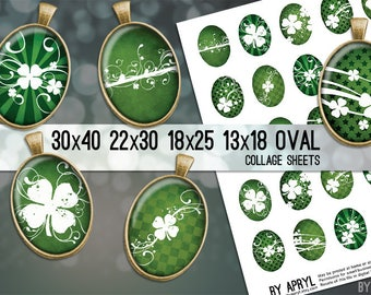 Digital Collage Sheet  30x40 22x30 18x25 13x18  Oval St Patricks Shamrocks Images for Glass and Resin Pendants Bezel Cabs