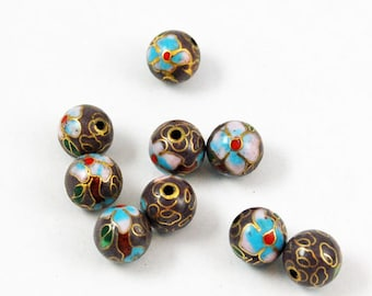 Cloisonne Purple Round Beads (12) Chinese Enamel Floral 6mm