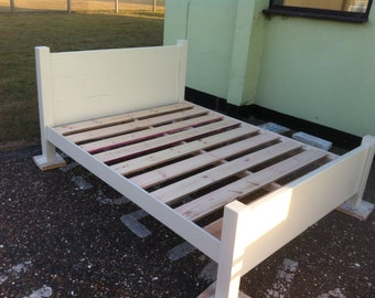 Chunky rustic double bed painted
