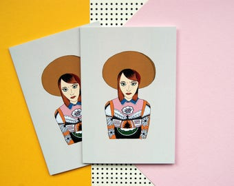 Illustrated A6 Notebook - Hollywood Leading Ladies - Emma Stone - Pocket Notebook