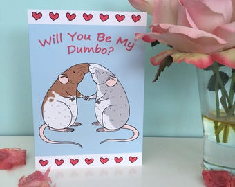 Will you be my dumbo? Blank greeting card, dumbo rat gift, funny pet rat card, Valentine's Day card, love, couples, A6 sized