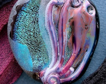 "Lampwork Beads ""Siren Song"" Handmade Glass Focal Bead SRA ~ Sandblasted, Dichroic Glass, Texture and Watercolour Lustre ~ Sea Tones"