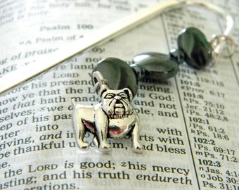 Bulldog Bookmark with Black Hematite Beads Shepherd Hook Steel Bookmark Silver Color