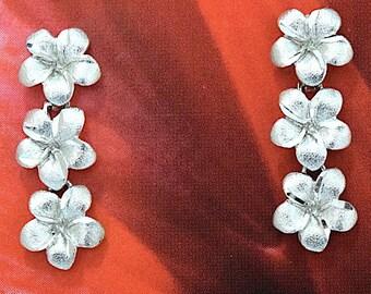 Plumeria Earring, Past Present & Future Plumeria, 14KT White Gold 3 Plumeria Stud Earring,   E5415