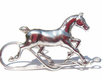 Vintage Sterling Silver Horse Brooch, Silver Vintage Jewelry, Christmas Jewelry, Kentucky Derby Pin, Horse Racing