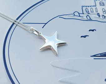 Sterling Silver, Star Necklace, Silver Star Necklace, Silver Star, Star, Star Charm