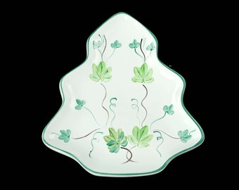 Vintage Hand Painted Herend Village Pottery Tray Ivy Pattern