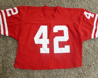 Vtg Ronnie Lott San Fransisco 49ers NFL Sand-Knit MacGregor Jersey Sz Men's M - Cut short