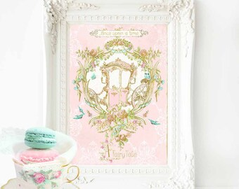 Once upon a time print, pink nursery decor, princess carriage, fairy tale, baby girl nursery print, A4 giclee