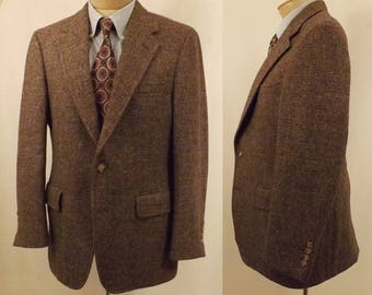 70's Brown Harris Tweed Sport Coat w Highland Flecks  Size 40