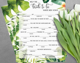 Help the bride to be to write hew vows - bridal mad libs - bridal shower games - Tropical bridal shower games - bridal shower game AS-TR125
