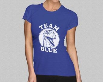 Team Blue Raptor Jurassic World Ladies T-Shirt - Womens Velociraptor Tee Top