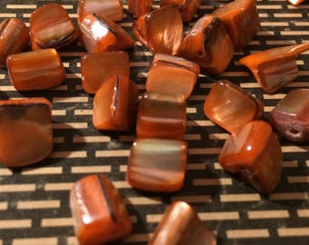 Orange Mother of Pearl Beads 25 Pieces
