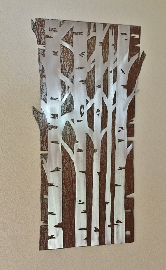 Metal wall art aspen tree forest gift for the couple wedding gift nature lover outdoorsy birch trees aspen trees home decor