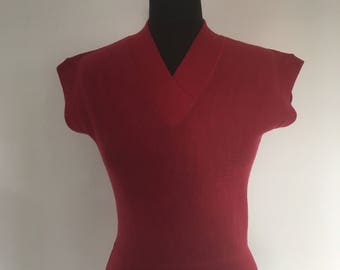 Vintage 1950's Sleeveless Fine Knit Sweater - Approx UK 10
