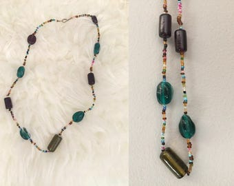 Glass Bead Necklace Handmade Purple Teal