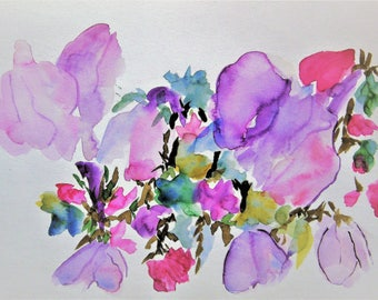 Flower Painting Abstract Painting Watercolor Flowers Floral Painting Original Watercolor Painting Purple Flowers
