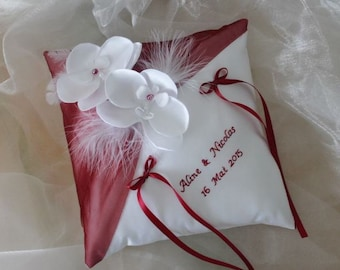 With or without embroidery, white (or ivory) wedding ring cushion orchids and Burgundy